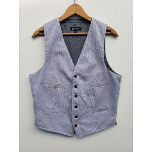 J.Crew Vest Button-down blue white tan sz SM